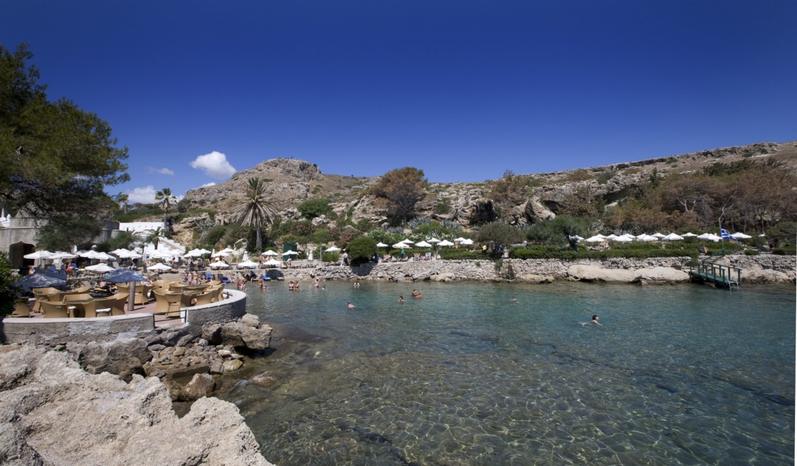 The beautiful beach at Kalithea Springs in island of Rhodes, Greece
