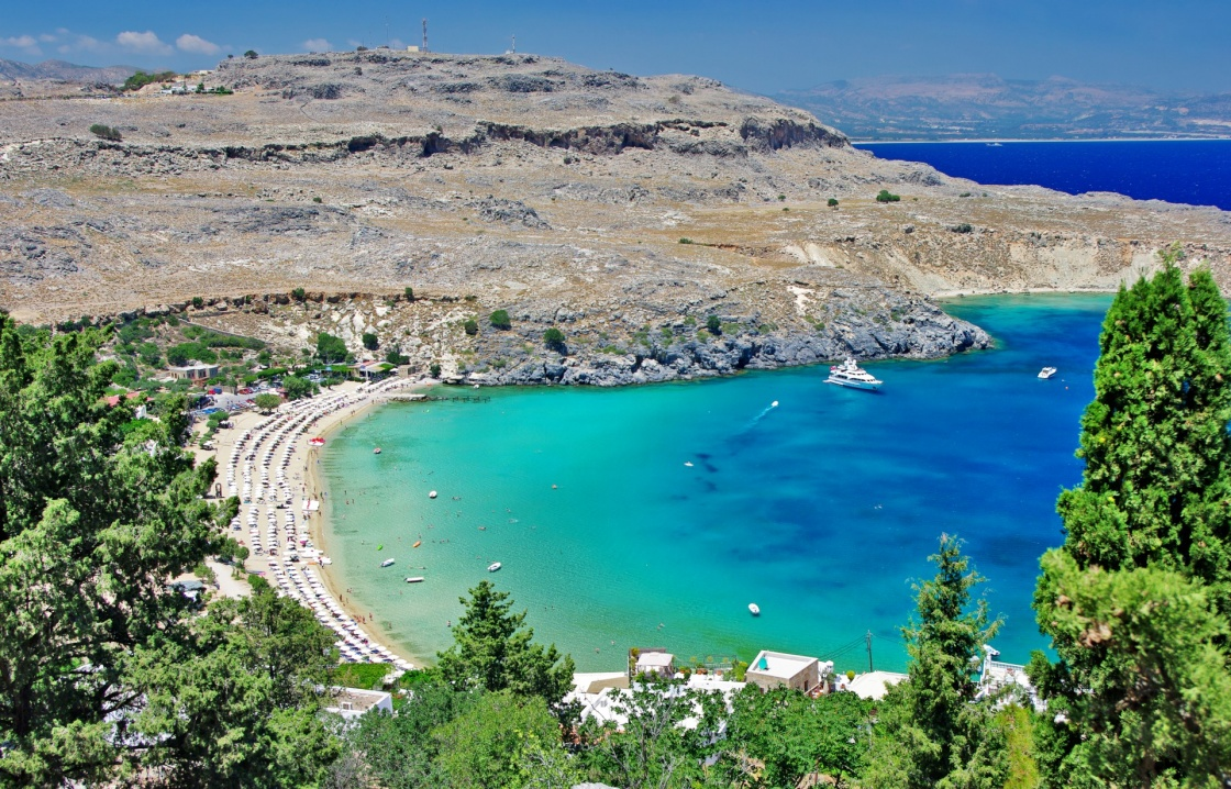 'travel in Greek islands series - Rhodes, Lindos bay' - Rodos