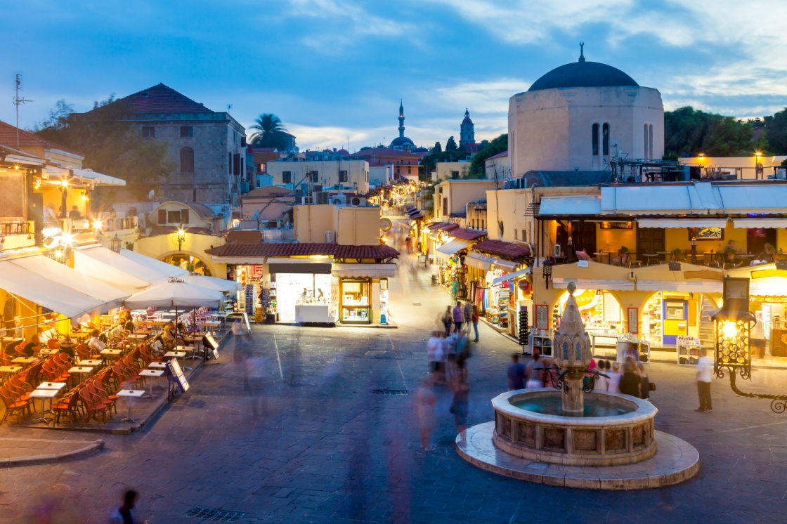 Hippocrates square in the historic Old Town of Rhodes Greece